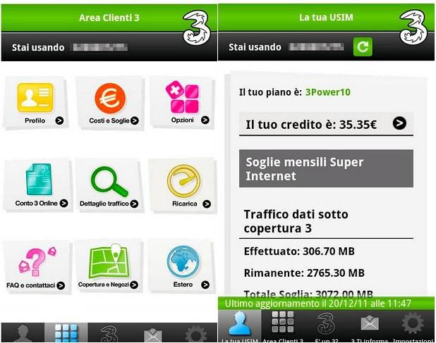 Area clienti 3 arriva l 39 applicazione ufficiale per il for Area clienti 3 servizi in abbonamento
