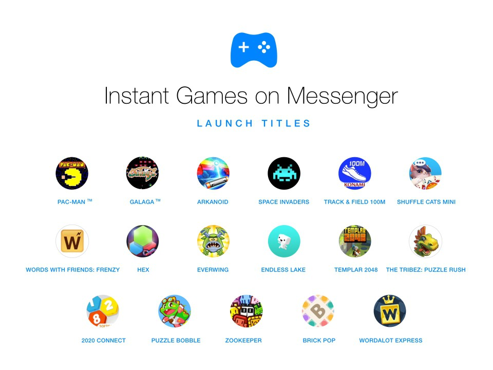 Instant Games in Messenger, i Giochi Istantanei