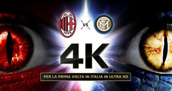 Ecco come vedere il derby Milan - Inter a risoluzione Ultra HD