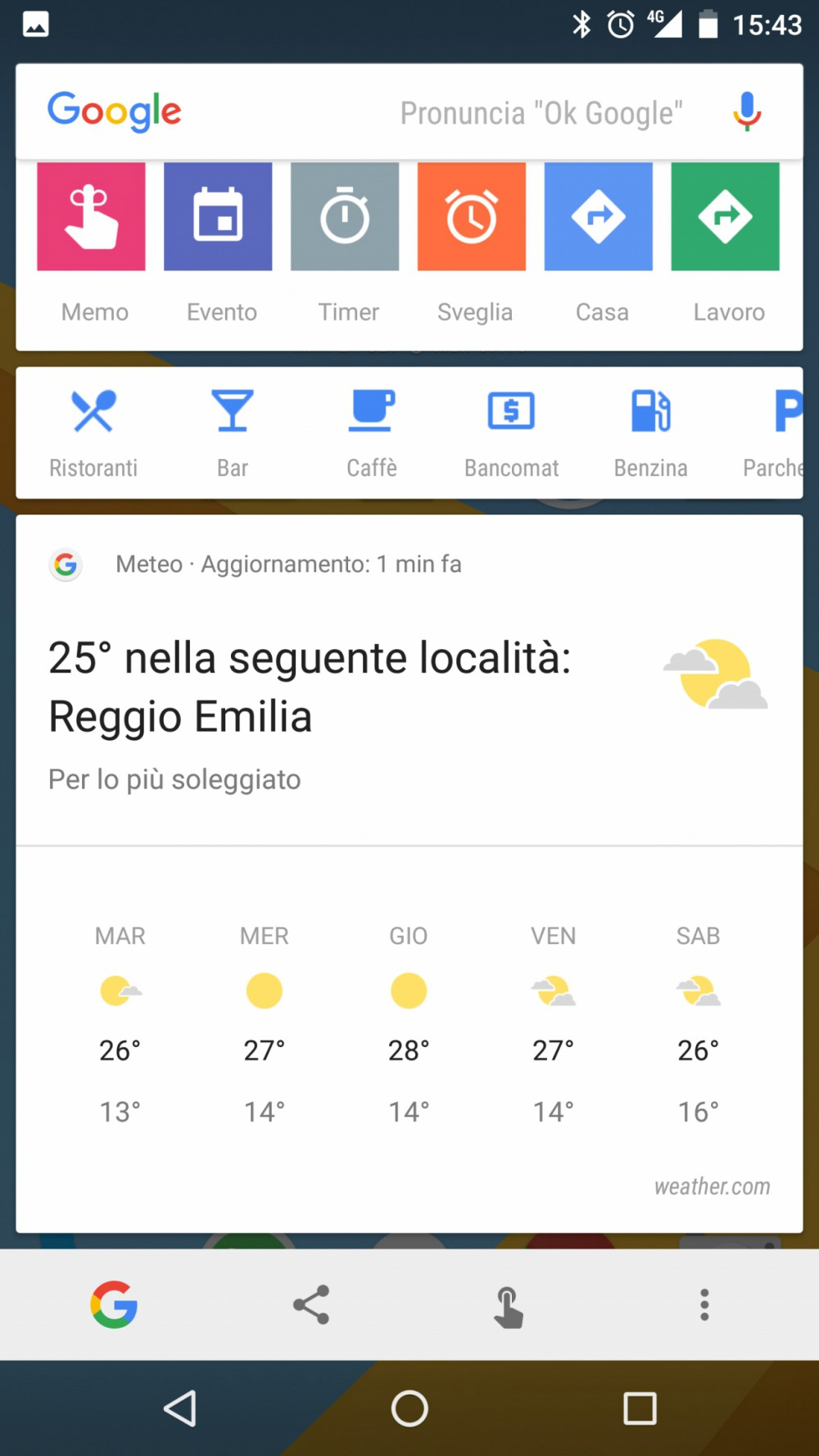 google screen search nuove icone e collegamenti diretti a maps e meteo. Black Bedroom Furniture Sets. Home Design Ideas