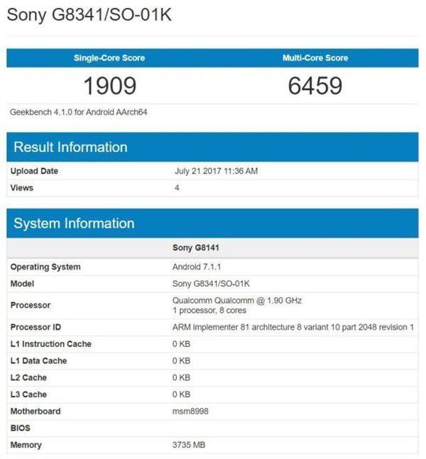 Sony Xperia XZ1 appare su Geekbench con qualche delusione